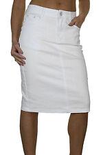 NEW (2515-2) Ladies Plus Size Stretchy Textured Denim Jeans Skirt White 12-24