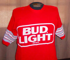 "VTG 1980s BUD LIGHT Red Football Jersey - Sand Knit ""Spuds McKenzie"" College - M"