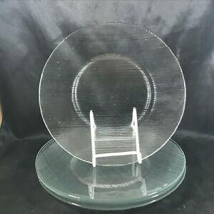 Set of 4 Vintage Clear Glass Horizontal Striped Dinner Plates