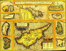 Cyprus Ancient Greece Map by Abraham Ortelius Vintage Old Antique Canvas Print