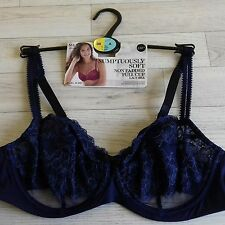 M&S bra  38 A sumptously soft non padded full cup navy lace underwired - new