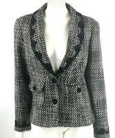 Emma James Blazer Sz 14 Black White Tweed Lace Detail Career Suit Jacket Womens