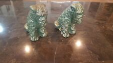 Vintage Bookends Dog statue Terrier,Airedale,Fox,Wels h. Pot metal? patina