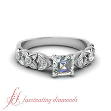 .65 Ct Asscher Diamond Modern Engagement Rings Floral Style With Round Accents