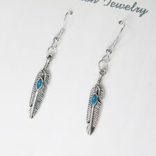 Native Tribal Baby Blue Feather Turquoise Earrings 925 Sterling Silver Hooks NEW