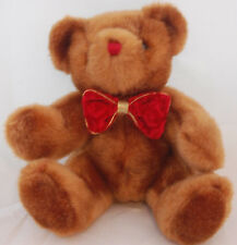 "Brown Teddy Bear Red Nose Gold Velvet Bow Tie Soft Plush 10"" PVC Pellets Toy"