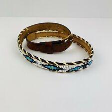 Native American Indian Design Hand Beaded Thunderbird Leather Belt Size 26