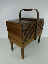 Cantilever Sewing Box Vintage Large Accordian Wooden Crafts Tools Handmade Brown