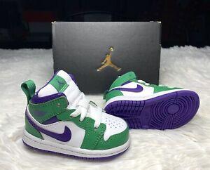 Nike Air Jordan Retro 1 Mid TD INCREDIBLE HULK Green Purple Toddler Baby size 4c