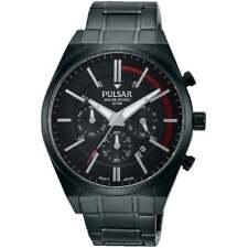 Pulsar Chronograph Black Dial IP Black Bracelet Gents Watch PT3705X1
