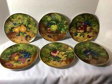 Rochard Limoges Porcelain Desert Plates Scalloped Fruit Theme (Set of 6)