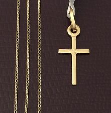 14K Yellow White Gold Small Jesus  Cross Charm Pandent Box Chain 20 inch