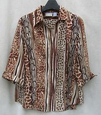 Browns ALFRED DUNNER 16W Animal Tiger Leopard Print Top Plus $5SH Career 3/4 SLV