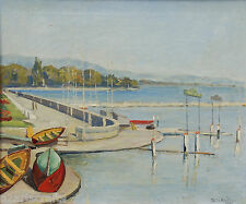Original oil harbor painting Tolia Beilin Geneva Switzerland Hungary listed 1942