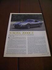 1967 TOYOTA 2000GT ***ORIGINAL 1978 ARTICLE*** RARE