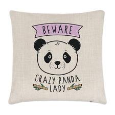 Beware Crazy Panda Lady Linen Cushion Cover Pillow - Funny Animal Cute