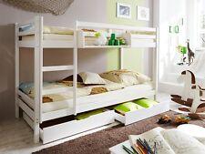 Cameretta bambini, letto a castello, in legno pino bianco, con cassettoni e reti