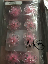 25mm Baby Pink Wire Flowers  x 8  *  Brand New