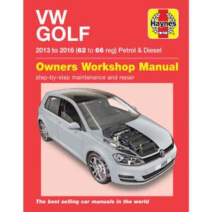 VW Golf Haynes Manual 2013-16 Workshop Repair 1.2 1.4 2.0 Petrol Diesel