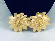 VTG. PAQUETTE BRUSHED GOLD TONE SUNFLOWERS BELT BUCKLES