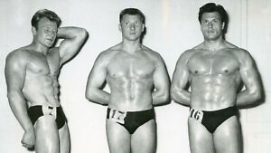 Vintage 50s French Bodybuilder Competition Winners 7x8 Photo Beefcake Gay - 7