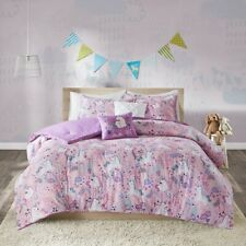 Pink  Unicorns & Whimsical Dreams Girls 5 Piece Full / Queen Comforter Set