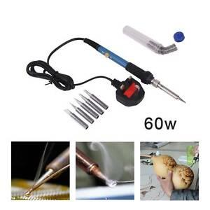 60W Soldering Iron Kit Electronics Welding Irons Tools Adjustable Temperature UK