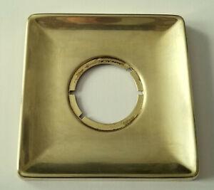 Vintage Mid-Century 5 inch Square Brass Escutcheon door knob Plate