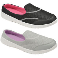 WOMEN SLIP ON MEMORY FOAM SHOES LADIES WALK COMFORT MULE CASUAL GO GYM TRAINERS