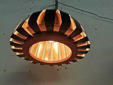 Mid Century Lamellen Lampe, Teak, Kupfer, Danish Design