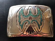 Sterling Silver Native American Turquoise Bird J Nezzie Belt Buckle