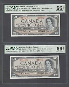 Canada 2 Notes Consecutive 100 Dollars 1954 BC-43a Uncirculated Graded 66