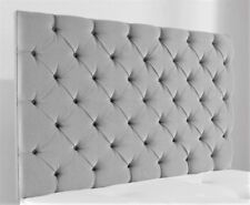 "Downham Chesterfield Grey Chenille Deep Buttoned 28"" High Headboard 5ft King Size"