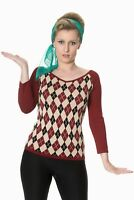 Women's Burgundy Argyle Diamond Vintage 50's Retro Knitted Jumper Banned Apparel