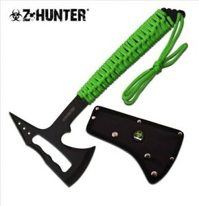 "14"" Z-HUNTER STAINLESS STEEL COMPLETE AXE W/ GREEN CORD WRAPPED HANDLE + SHEATH"