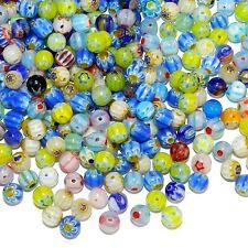 GL3453 Assorted Color Flower Millefiori 6mm Round Glass Bead Mix 100/pkg