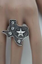 Texas State Map Lone Star One Size Women Ring Silver Metal Fashion Elastic Band