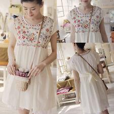 Vintage 70s Flower Mexican Embroidery Boho Cotton White Hippie Chic Mini Dress