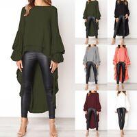 Fashion Women's Irregular Shirt Long Sleeve Sweatshirt Pullovers Tops Blouse