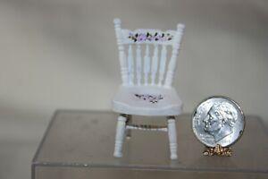Miniature Dollhouse Margie Parus Handpainted HALF SCALE Wood Chair Purple Flower