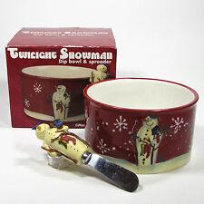 Certified International TWILIGHT SNOWMAN Dip Bowl & Spreader Stockings Baxter