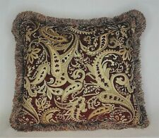 dark red and gold chenille woven floral  paisley throw pillow with fringe