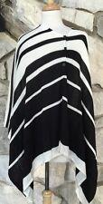 CHICOS Sydney Stripe Susan Poncho Top Black Off-White Chico's O/S 1 2 3 M L XL