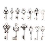 50pcs Tibetan Silver Alloy Key Pendants Mini Metal Charms DIY Necklace 16~30mm