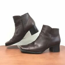 White Mountain Brown Leather Ankle Boot Marianna Side Zip Women's 6.5 M