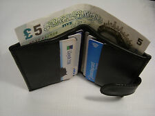 Leather Credit Card Holder with Space for Paper money Button Closer Slim Black