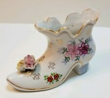 Vintage Andrea S N.Y. Porcelain Lace Shoe Made in Japan Lace and Applied Flowers