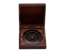 "Ships Admiral's Compass Antique Copper 5"" Desktop Rosewood Case Nautical Decor"