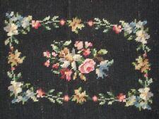 Vintage Needlepoint on Black Background