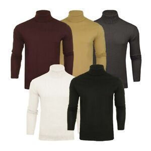 Mens Roll Polo Neck Jumper Funnel Cotton Top Jersey Base Layer Golf Brave Soul